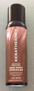 """KERATHERAPY Gray Root Cover Concealer Keratin Infused Light Brown Color 180 m""""l"""