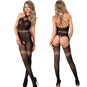 Sexy Sheer Open Crotch Bodystocking Lingerie Body Stocking Bodysuit Babydoll