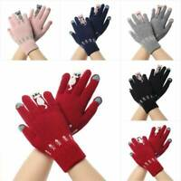 Winter Warm Womens Cute Cat Print Knitted Gloves Wool Gloves lady Mittens Univer