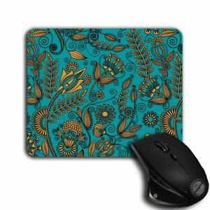 Mouse Pad - Turquoise and gold Floral Pattern