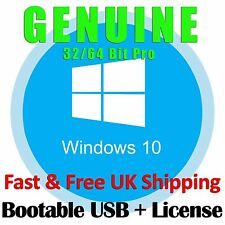 Genuine Windows 10 Pro 32bit 64bit Bootable USB Drive + License Flash Drive