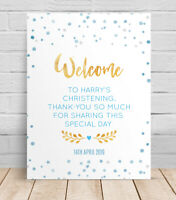 Welcome to the Christening Day Personalised Table Sign, Poster, Naming ceremony
