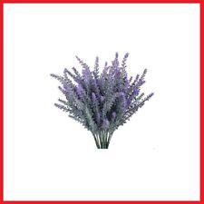 Gtide 4pcs Artificial Flowers Flocked Plastic Lavender Bundle Fake Plants