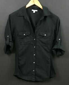James Perse Contrast Ribbed Surplus Shirt Black Top Size 3 US L Large