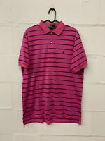 POLO RALPH LAUREN Mens Polo Shirt Large L Pink Striped