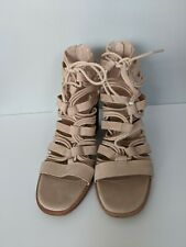 Vince Camuto Sushi Tan Suede Strappy Caged Lace Up Vamp Kaiann Heels Size 8 W