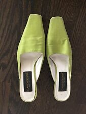 CLASSIQUES ENTIER  Mid-Heel Green Satin  Mules Shoes Size 36.5