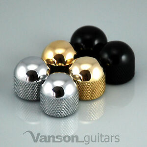 2 x NEW Vanson Domed Knobs for 'TL' guitar, Push-On, Chrome, Black or Gold VP001