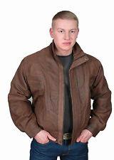 Gentlemens BLOUSON Leather Jacket Brown Soft Antique REAL Nubuck Bomber COAT new