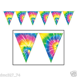 Groovy 60s Party Decoration HIPPIE Tie Dye Dyed Print Pennant FLAG BANNER
