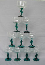 14 MARGARITA GLASSES -CLEAR WITH GREEN BASE & CACTUS SHAPE STEM GLASSES - LIBBEY