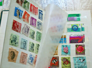 Australia + UK NZ Small Stamp Album Mixed Set 1920's to 1970s Used VINTAGE