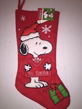 Christmas Holiday Stocking Peanuts Snoopy Red Stocking
