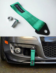 Universal Racing Sport Tow Hook Strap Band High Strength Heavy Duty Loop Green