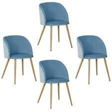 Esszimmerstuhl Küchenstuhl Essstuhl 4er Set Holz Retro Stuhl Samtoptik Hellblau
