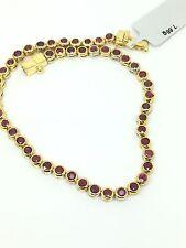 14k Solid Yellow Gold Bezel Set Ruby Tennis Bracelet