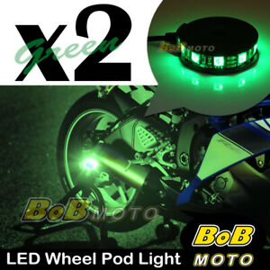 2x Green 360 Degree Cycle Rim Wheel SMD LED Pod Light For Triumph Motorcycles