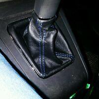 cuffia cambio Opel Zafira B realizzata in vera pelle nera con cuciture blu