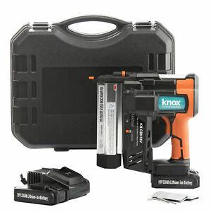 Knox Cordless 18V Li-Ion 2-Inch 18-Gauge Brad Nailer & Stapler w/ 2 Batteries E2