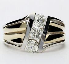 Diamond 3 stone ring 14K 2 tone gold channel round brilliants .90C 6.4G sz 6.75