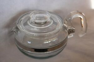 vintage PYREX 6 cup tea pot clear glass stainless steel band vgvc