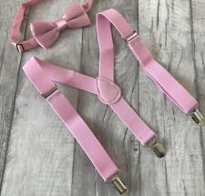 Baby Boys Pink Brace Bow Tie Set, Boys Clip Pink Braces and Bow Tie Set