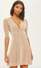 TOPSHOP Sparkly Shimmer Glitter Skater Dress Nude Gold Size  12 Party RRP £29