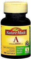 Nature Made Vitamin A 8000 I.U. Softgels 100 Soft Gels (Pack of 4)