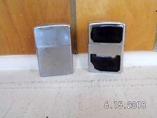 2 Vintage Lot Zippo Lighters Chrome/Brush Finish USA USED