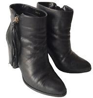 MNG Damen Leder Stiefeletten Schwarz Blockabsatz Gr.38 Reißverschluss