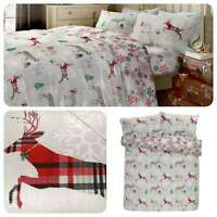 Fusion GARLAND REINDEER Xmas 100% Brushed Cotton Duvet Cover Set & Fitted Sheets