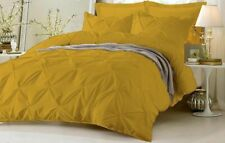3pc Pinch Pleated Duvet Quit/Cover  Solid 1000 TC 100% Egyiptia Cotton Gold