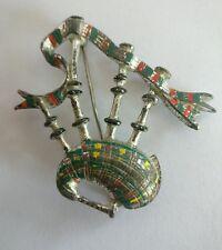 Art Deco enamel Scottish bagpipes brooch