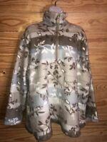 Just My Size Women's Fleece Pullover SZ 22W/24W 1/4 Zip Tan Gray Leaves