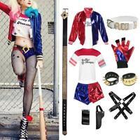 Ladies Harley Quinn Harlequin Suicide Squad Halloween Party Costume Full Set HOT