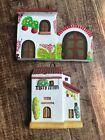Vintage Handcrafted Painted Terra Cota Clay House Wall Decor Folk Art Set Of 2