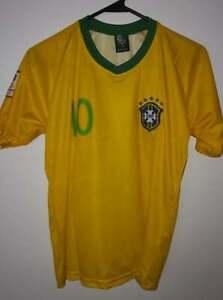 New Brasil Neymar JR.10 Youth Kids Home Jersey Yellow Soccer Football Shirt Sz12