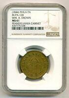 1844 Philadelphia PA Merchant Trade Token WM A Drown M-PA-128 Brass MS61 NGC