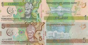 Turkmenistan 2 Note Set: 1 & 5 Manat (2017) p36/p37 5th Asian Art Games UNC