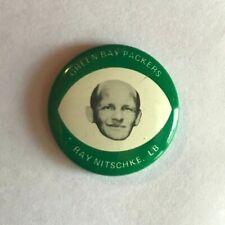 Vintage 1969 Drenks Potato Chips Pin Ray Nitschke Green Bay Packers