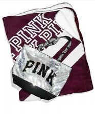 New Victoria's Secret PINK Sherpa Blanket & Sequin Tote Bag Set Black Friday Set