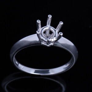 Solitaire Engagement Jewelry Semi Mount 6.5mm Round Cut Sterling Silver 925 Ring