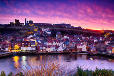 Whitby Yorkshire Sunrise Fishing Village Holiday Canvas Pictures Wall Prints