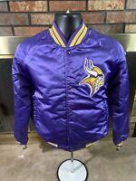 Vintage Minnesota Vikings NFL Football Satin Varsity Lettermen Jacket Mens Small
