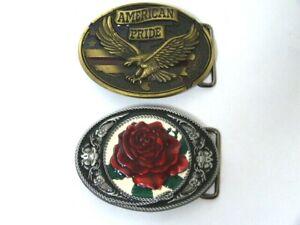 """NEW* 2 x large 3.5"""" Western  belt buckles: American pride buckle + rose buckles"""