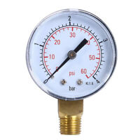 Pool Water Pressure Gauge Compressor Hydraulic 0-60 PSI Side Mount 1/4 NPT