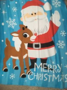 "Rudolph The Red nosed Reindeer Merry Christmas Fleece Throw Blanket 50"" x 60"""