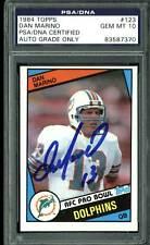 Dolphins Dan Marino Signed 1984 Topps #123 RC Card Auto Graded 10! PSA Slabbed