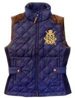 Women Ralph Lauren Bomber Hagan Barn Suede Equestrian Crest Quilt Vest Jacket S
