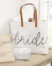 Mud Pie E9 Wedding Bride 15x22in Silver Sequin Bride Jute Tote Bag 4035007